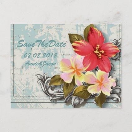 hawaii hibiscus tropical wedding save the date announcement