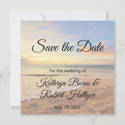 Hawaii Sunset on the Beach Save the Date