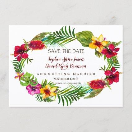 Hawaiian Radiant Tropical Floral Save The Date
