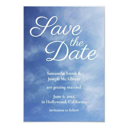Hazy Clouds Blue Sky Photo Save the Date Invitation