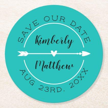 Heart & Arrow Turquoise Save the Date Round Paper Coaster