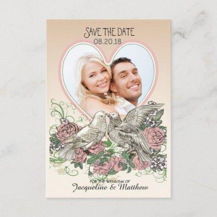 Heart Doves Rose Pink Romance Photo Save the Date