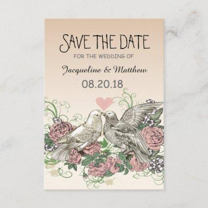 Heart Doves Rose Pink Romance - Save the Date
