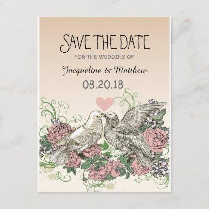 Heart Doves Rose Pink Romance - Save the Date Announcements