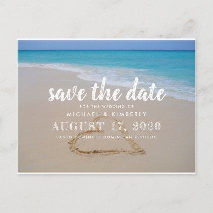 Heart in Beach Sand Wedding Save the Date Announcement