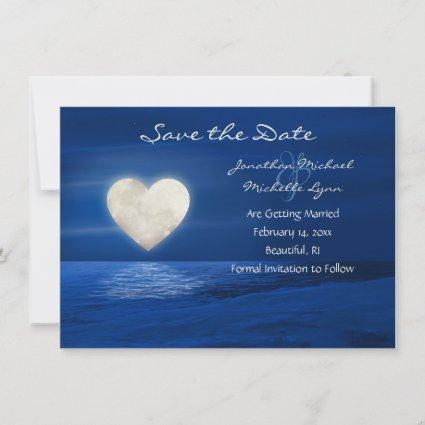 Heart Moon with Snow Covered Beach Winter Wedding Save The Date