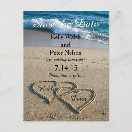 Heart on the Shore Beach Save the Date Cards