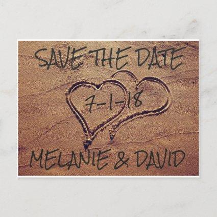 Hearts Drawn in Beach Sand Save the Date Cards
