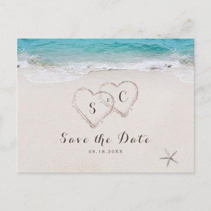 Hearts in the sand beach save the date announcement