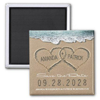Hearts in the Sand Beach Wedding Save the Date Magnet