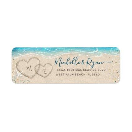 Hearts in the Sand Watercolor Beach Return Address Label