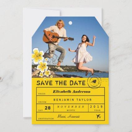 Hibiscus Destination Wedding Luggage Tag Photo Save The Date