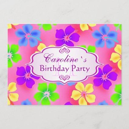 Hibiscus flowers Birthday Party Save The Date