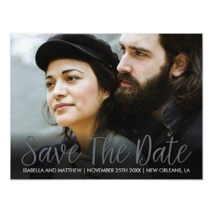 Hip Sparkling Cloudy Grey Save The Date Picture Magnetic Invitation