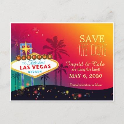 Hip Twilight Las Vegas Wedding Save the Date Announcement