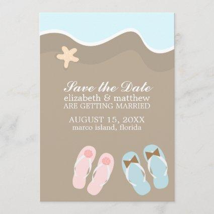 His and Hers Flip Flop Sandals Wedding Save The Date