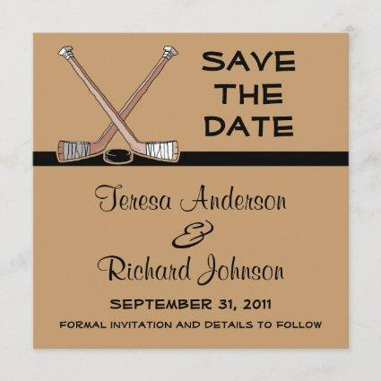 Hockey Save The Date Wedding Announcement