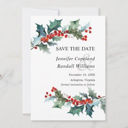 Holiday Greenery Save the Date Card
