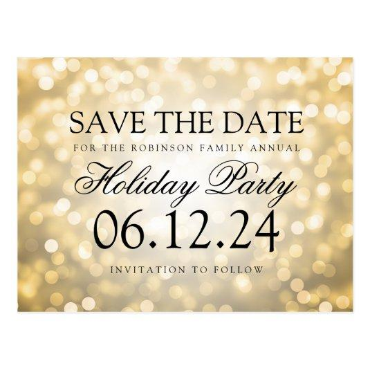 holiday party save the date gold glitter lights cards save the