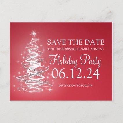 Holiday Party Save The Date Sparkling Tree Red Announcement