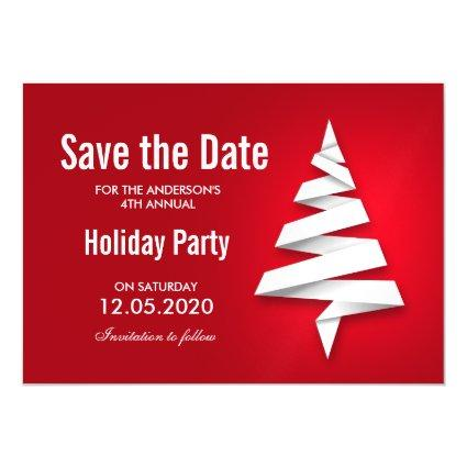 Holiday Party Save The Date With Christmas Tree Magnetic Invitation