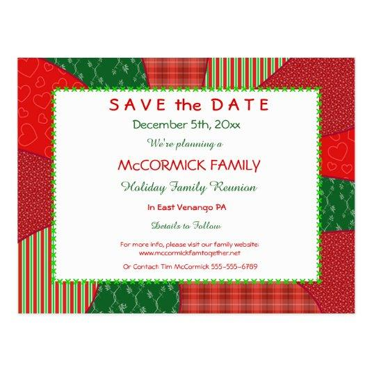 1 05 Holiday Quilt Party Family Reunion Save The Date Cards