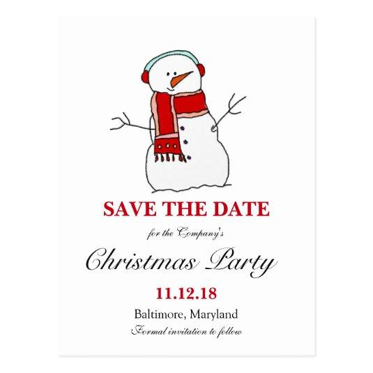 Christmas Party Save The Date Cards.Holiday Snowman Christmas Party Save The Date Cards