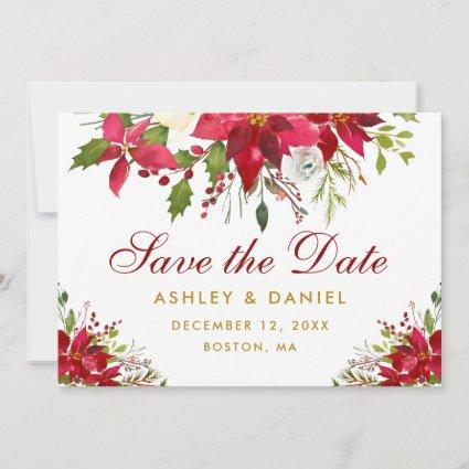 Holiday Wedding Poinsettia Floral Gold Red Save The Date