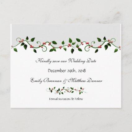Holiday Wedding Save the Date Red Berry Vine Announcement
