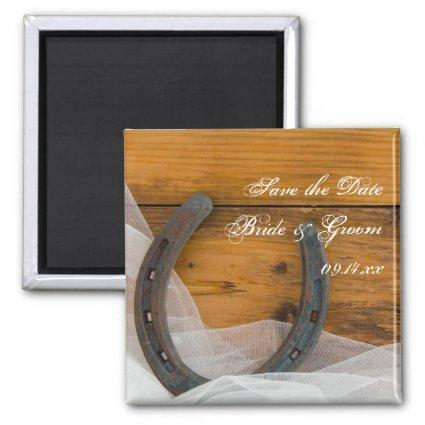 Horseshoe and Veil Country Wedding Save the Date Magnets