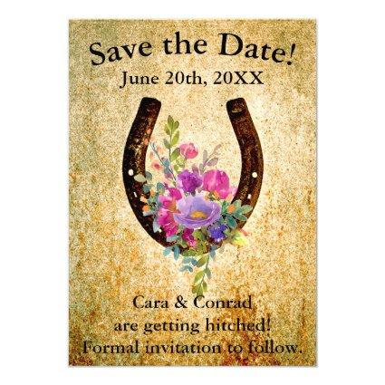 Horseshoe with Watercolor Flowers Save the Date Invitation