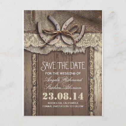 horseshoes rustic country save the date Cards