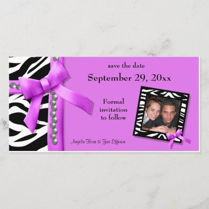 Hot Pink And White Zebra Gems Save The Date Cards