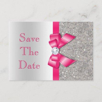 Hot Pink Bow Diamonds Save The Date Baby Shower