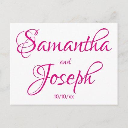 Hot Pink Calligraphy Save the Date Announcement