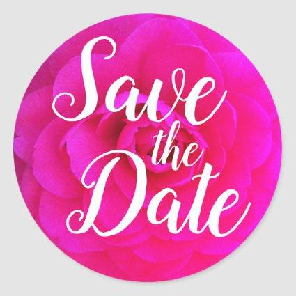 Hot Pink Camellia Flower Photo Save the Date Classic Round Sticker