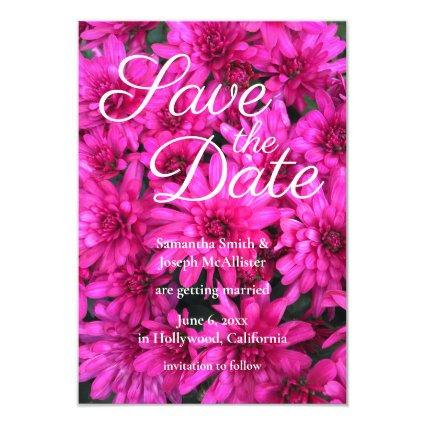 Hot Pink Mums Floral Photo Save the Date Invitation