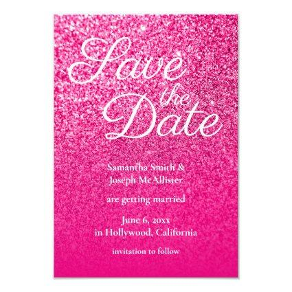Hot Pink Ombre Glitter Save the Date Invitation