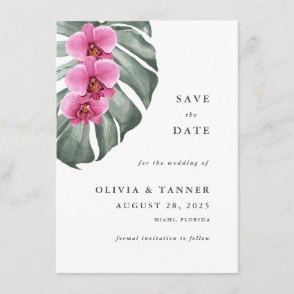 Hot Pink Orchids Tropical Paradise Save the Date Invitation