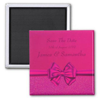 Hot Pink Satin Bow  – Save The Date Magnet