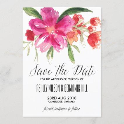 HotPink Watercolor Posy Save the Date Announcement