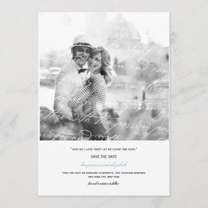 How Do I Love Thee Poem Save The Date Photo