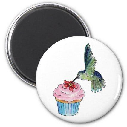 Hummingbird Cupcake Love is in the Air Magnets