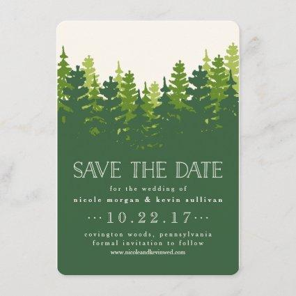 Hunter Green Pine Forest Save the Date