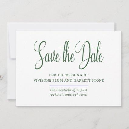 Hunter Green & White Calligraphy Save the Date