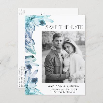 Ice Blue Watercolor Crystal Photo Save the Date Announcement