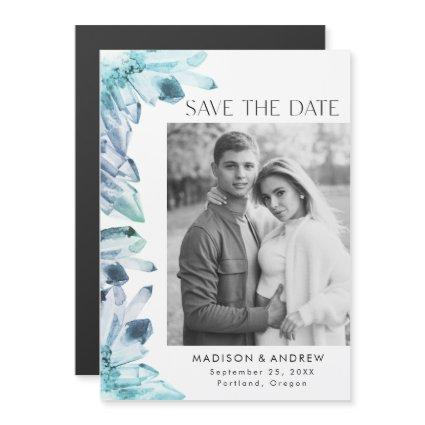 Ice Blue Watercolor Crystal Photo Save the Date Magnetic Invitation