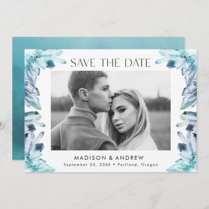 Ice Blue Watercolor Crystals Photo Save The Date