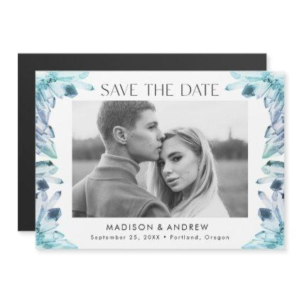 Ice Blue Watercolor Crystals Photo Save the Date Magnetic Invitation