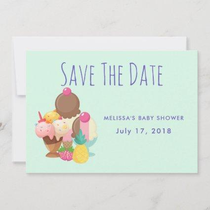 Ice Cream Scoops with Sprinkles Save the Date